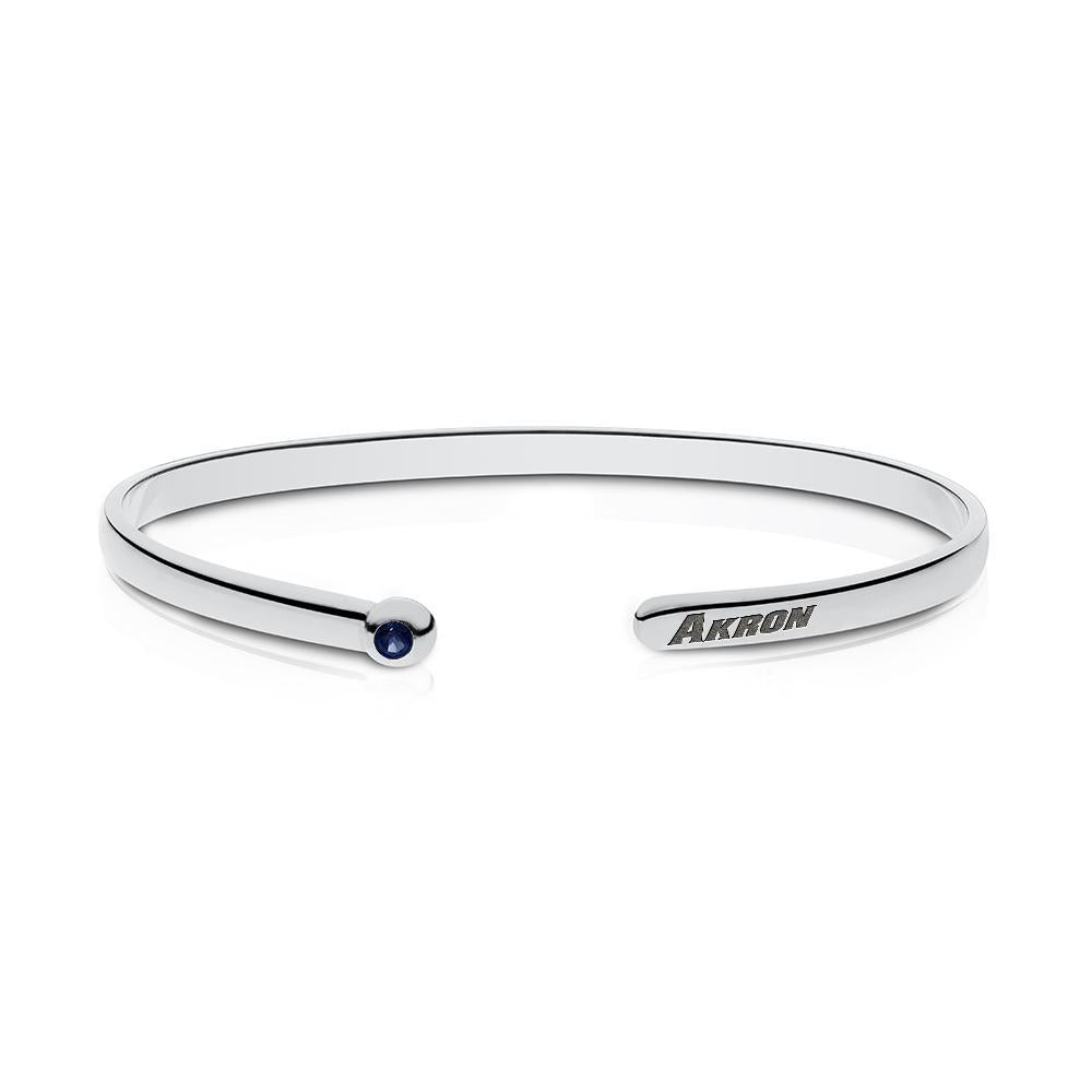 University of Akron Sapphire Cuff Bracelet in Sterling Silver