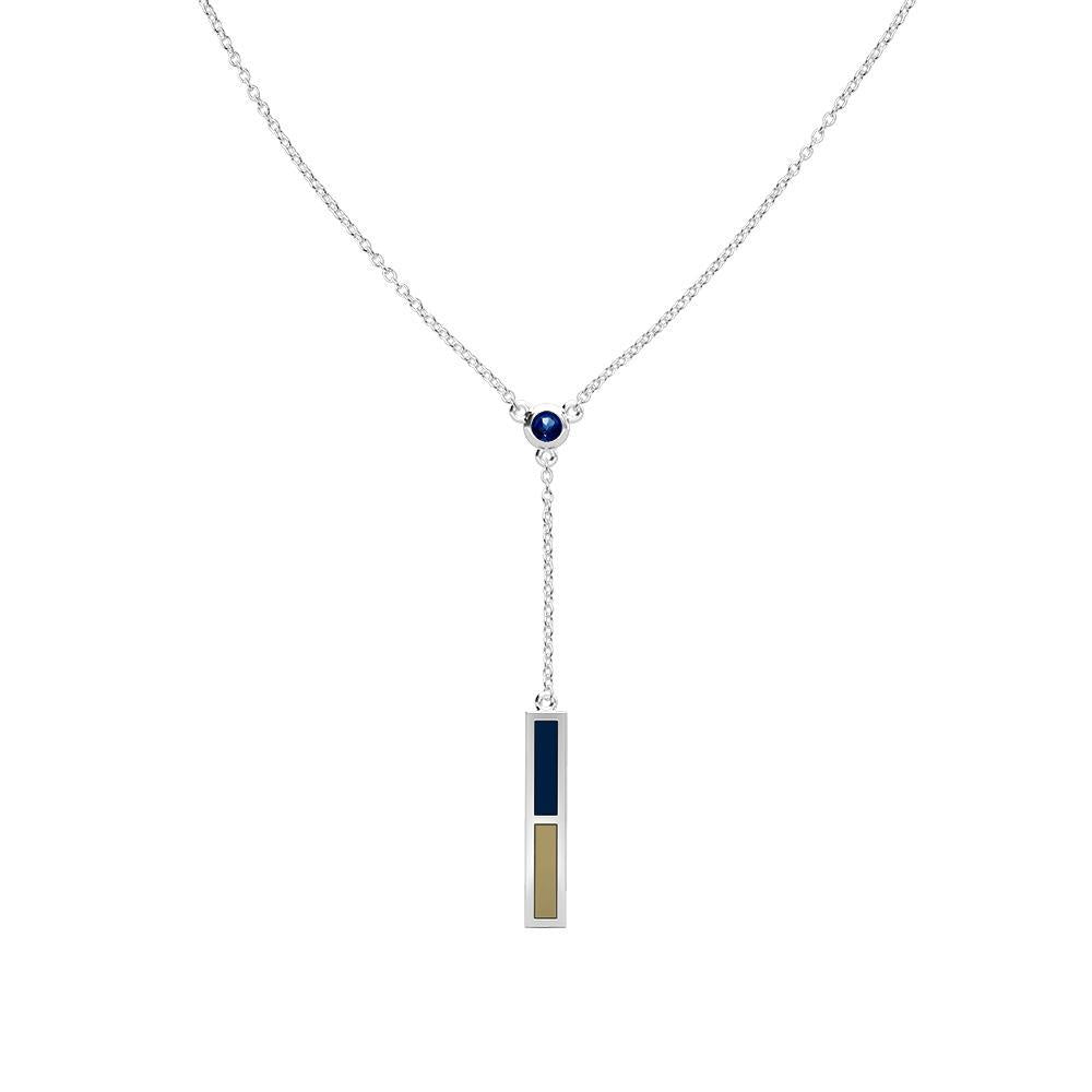 University of Akron Sapphire Drop Necklace in Sterling Silver