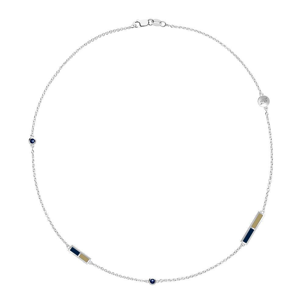 University of Akron Sapphire 5 Station Necklace in Sterling Silver