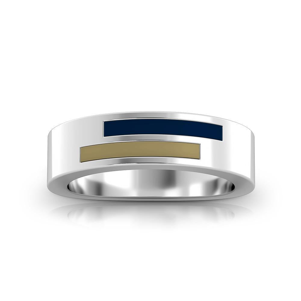 University of Akron Asymmetric Enamel Ring in Sterling Silver