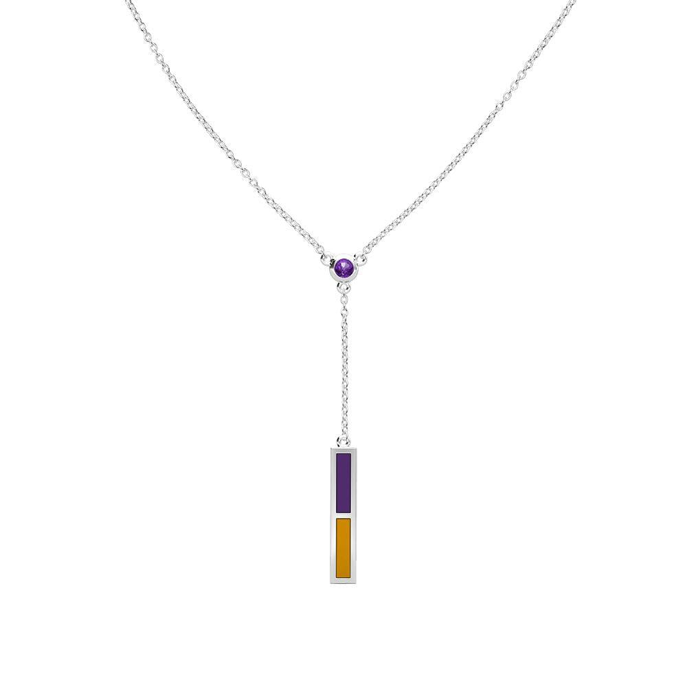 Alcorn State Amethyst Drop Necklace in Sterling Silver