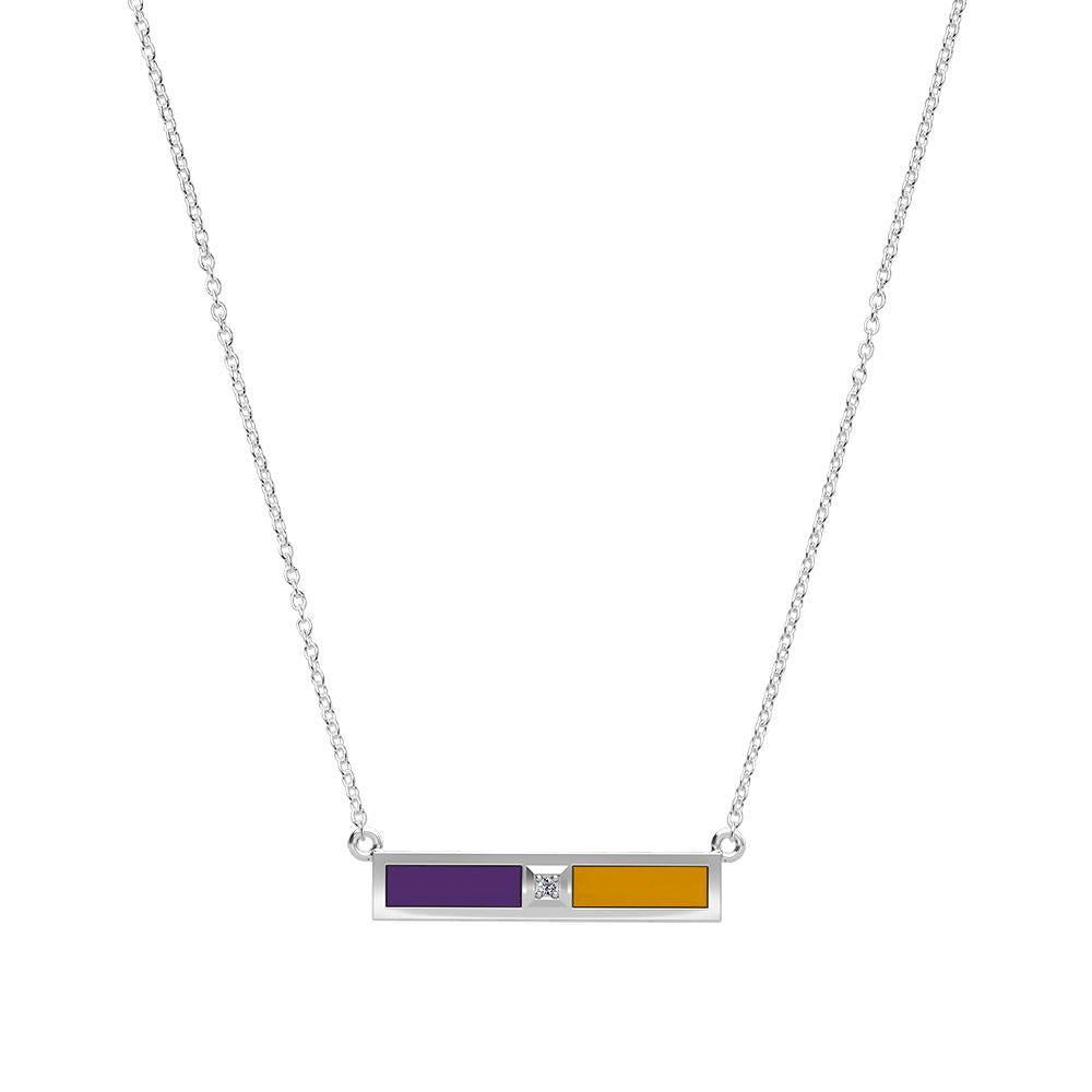 Diamond Bar Necklace in Purple and Gold Size 18