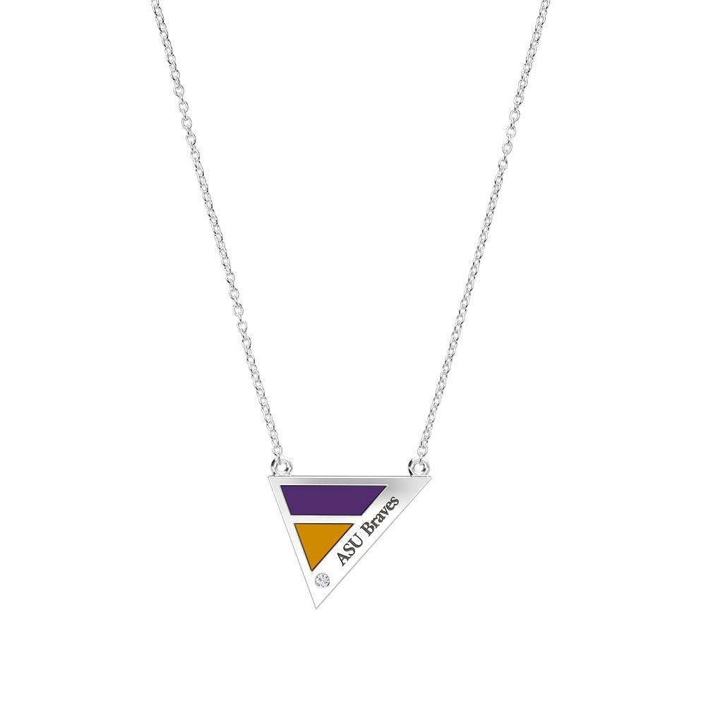 ASU Braves Engraved Diamond Geometric Necklace in Purple and Gold Size 16