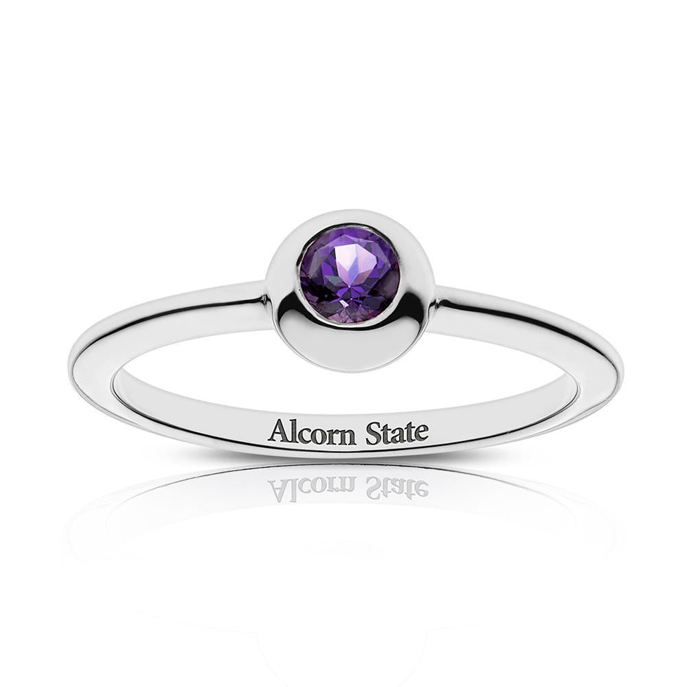 Alcorn State Engraved Amethyst Ring Size 8