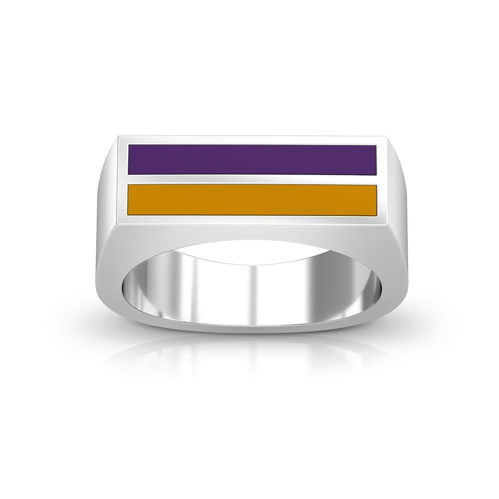 Enamel Ring in Purple and Gold Size 8