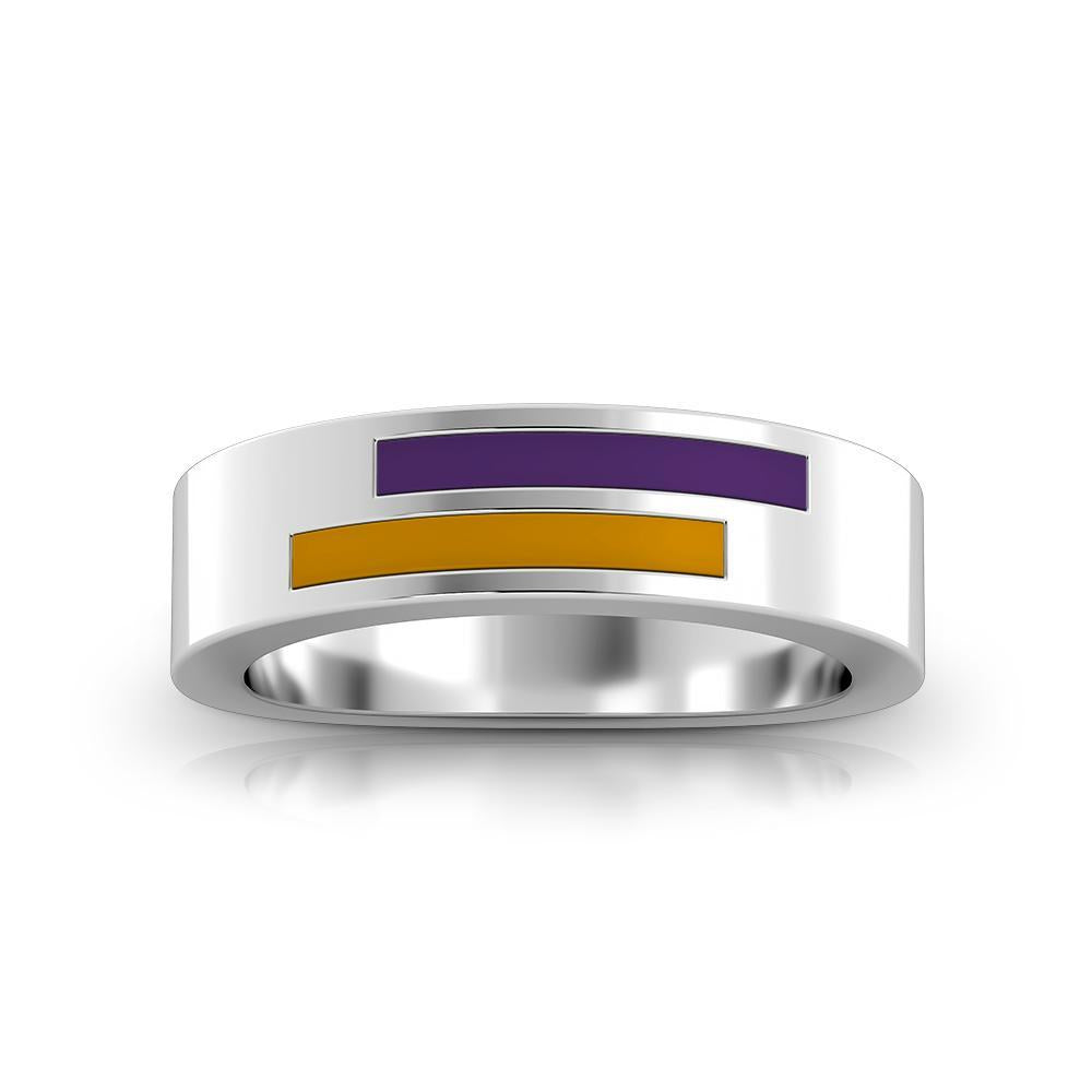 Asymmetric Enamel Ring in Purple and Gold Size 8