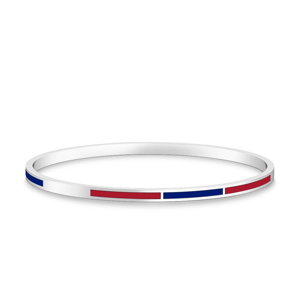 Two-Tone Enamel Bracelet in Blue and Red Size L