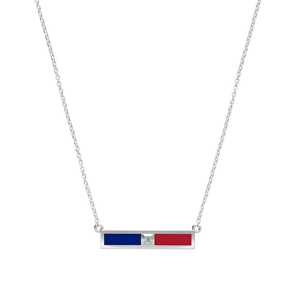 Diamond Bar Necklace in Blue and Red Size 18