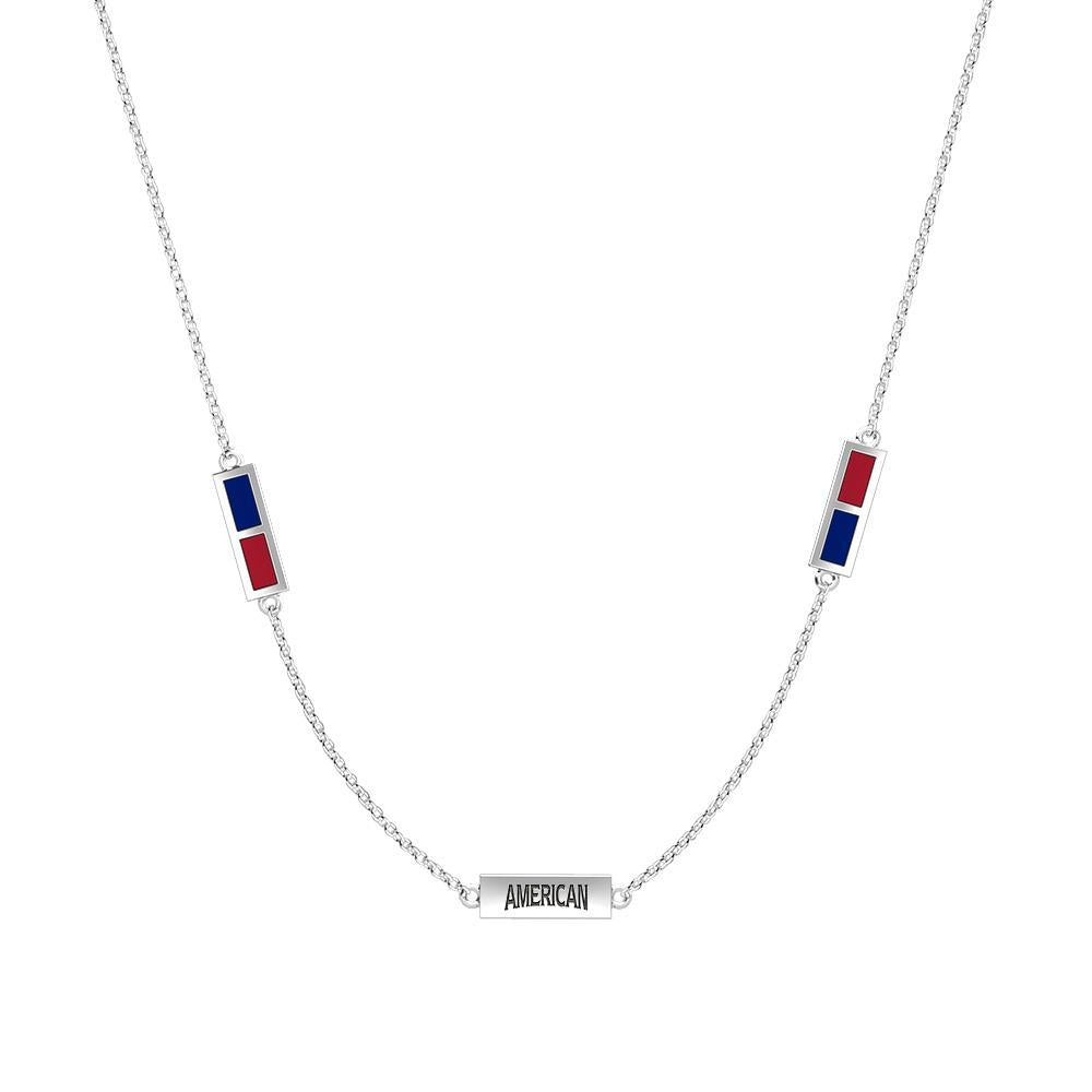American Engraved Triple Station Necklace in Blue and Red Size 20