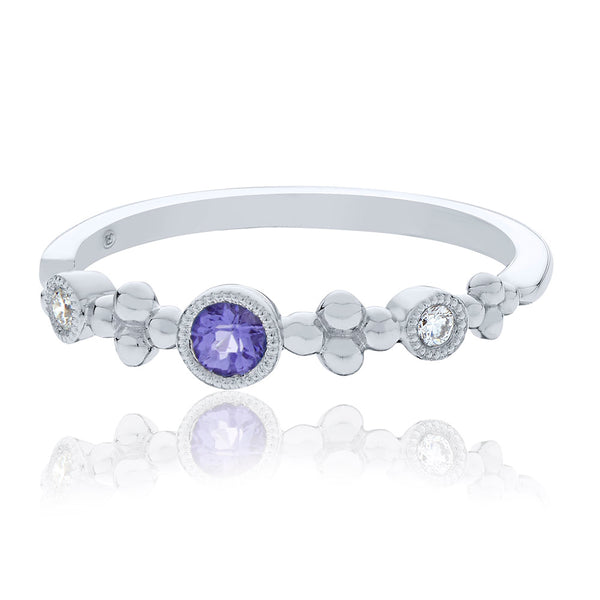 Diamond & Amethyst Bezel Stackable Ring in 14K White Gold
