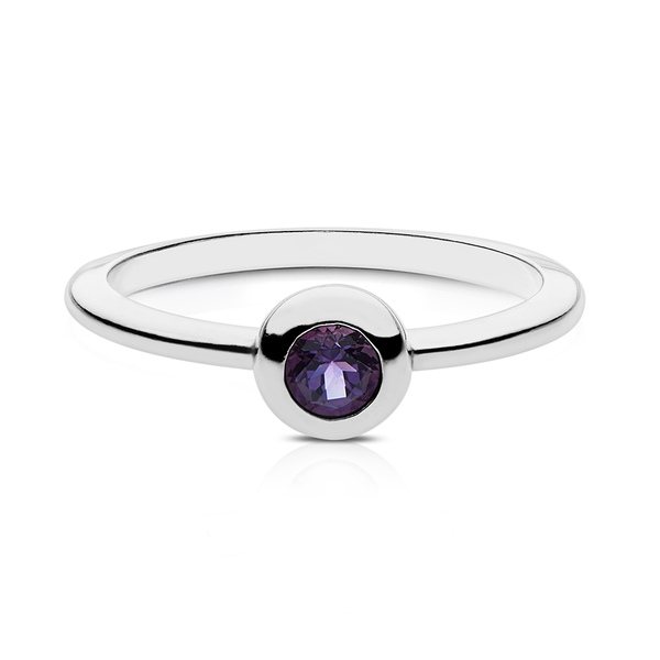 Amethyst Stackable Bezel Ring in Sterling Silver