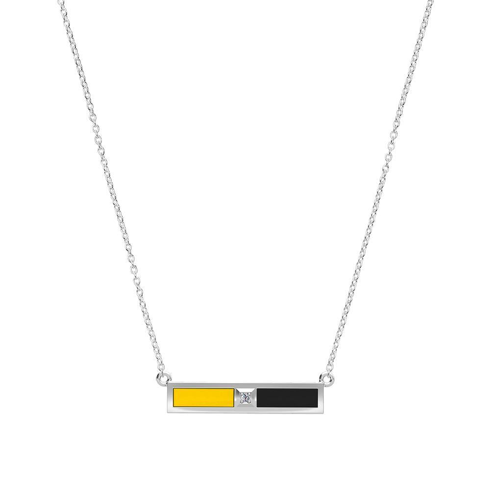 Diamond Bar Necklace in Yellow and Black Size 20