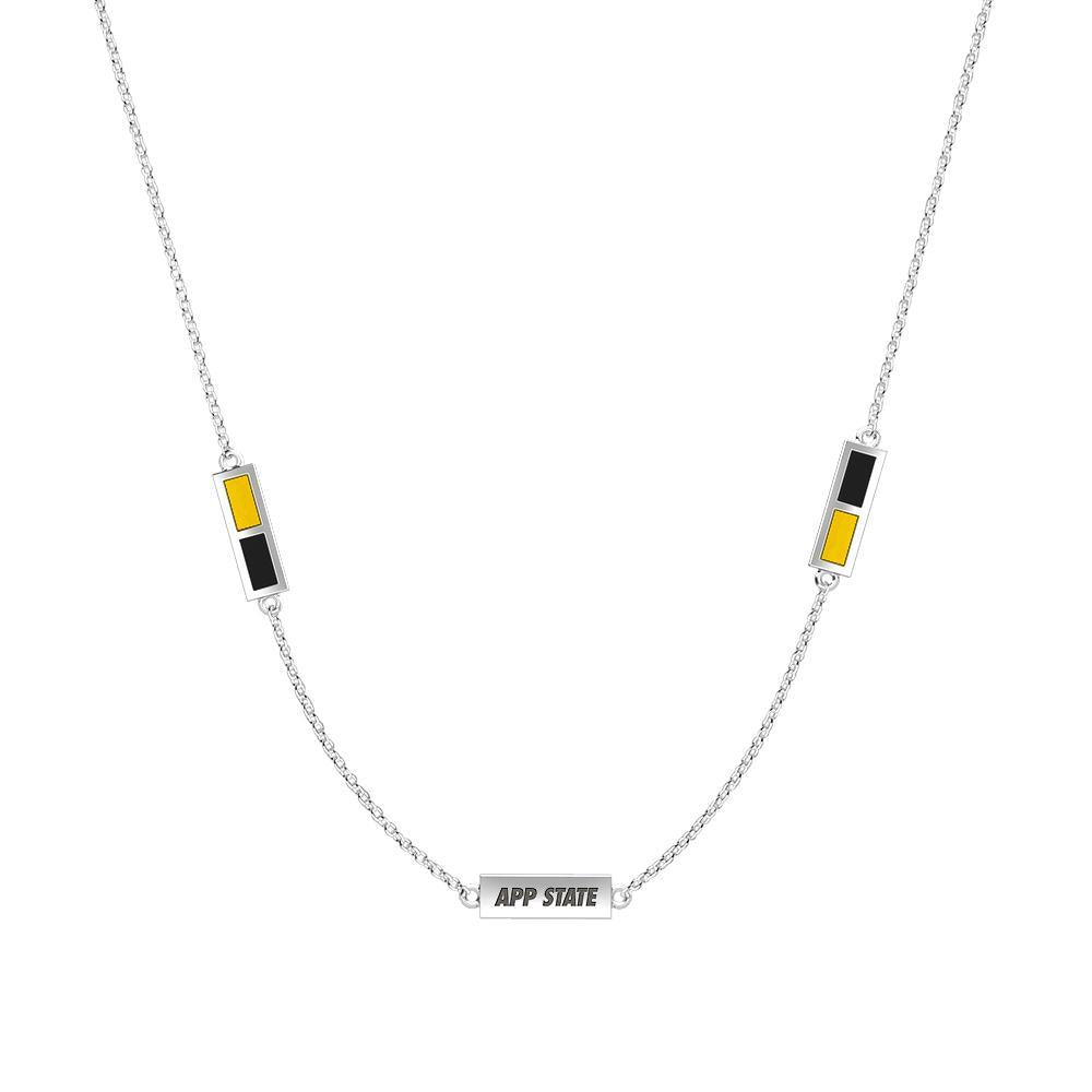 Appalachian Engraved Triple Station Necklace in Yellow and Black Size 18