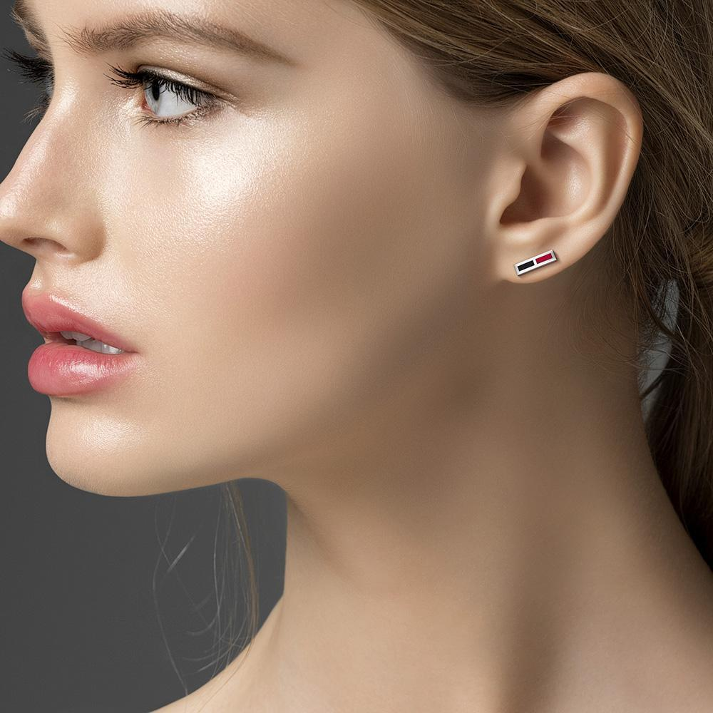 Enamel Stud Earrings