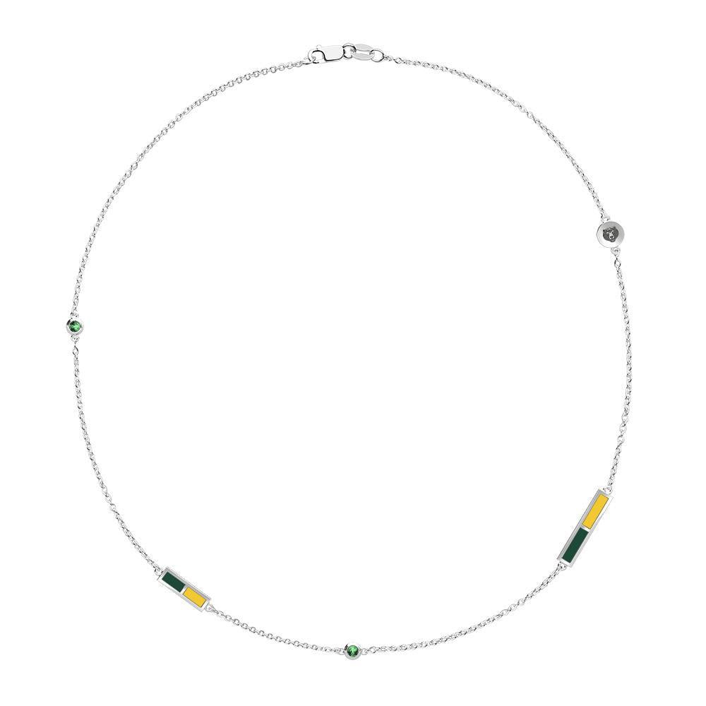 Baylor Emerald 5 Station Necklace in Sterling Silver