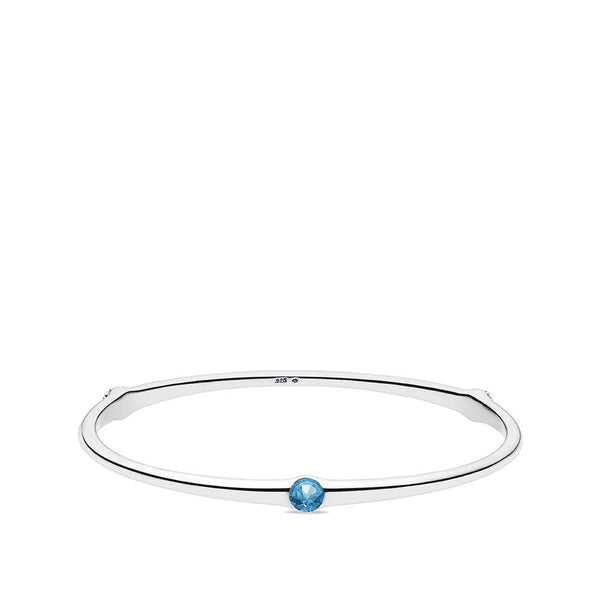 Blue Topaz Cherish Bangle in Sterling Silver