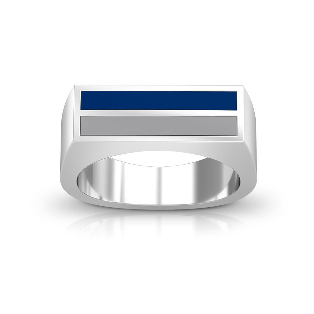 Enamel Ring in Blue and Grey Size 10