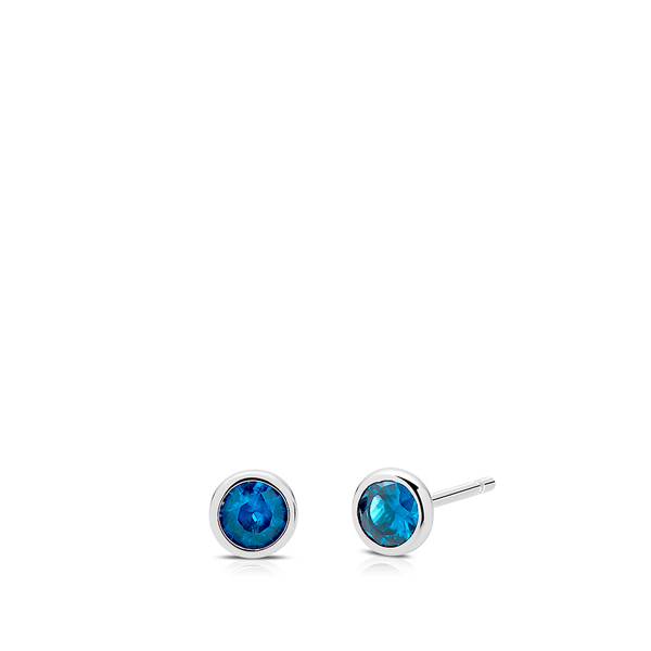 Blue Topaz Bezel Stud Earrings in Sterling Silver