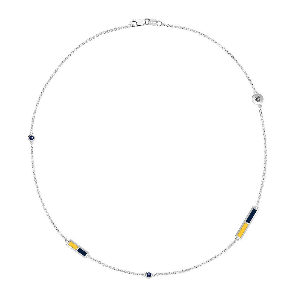 Anteaters Logo Engraved Dark Sapphire 5-Station Necklace in Yellow and Dark Blue Size 21