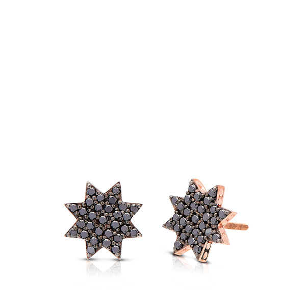 Black Diamond Starlight Stud Earrings in 14K Rose Gold