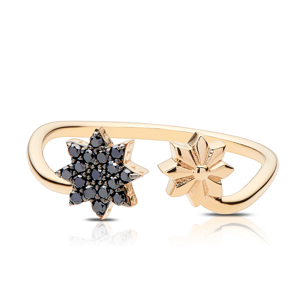 Black Diamond Starlight Ring in 14K Yellow Gold
