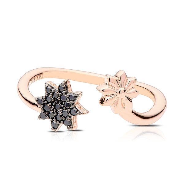Black Diamond Starlight Ring in 14K Rose Gold
