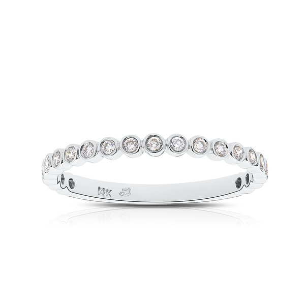 Diamond Bezel Stackable Ring in 14K White Gold