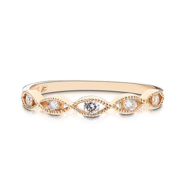 Diamond & Milgrain Stackable Ring in 14K Yellow Gold
