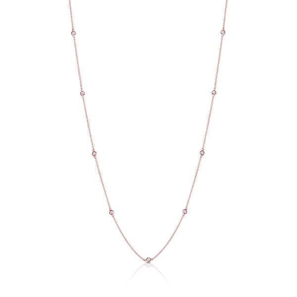 Diamond Dew Drop 12-Station Necklace in 14K Rose Gold