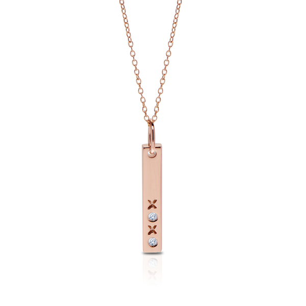 Diamond XOXO Bar Pendant Necklace in 14K Yellow Gold