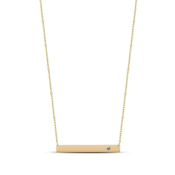 Diamond Personalized Bar Pendant Necklace in 14K Yellow Gold