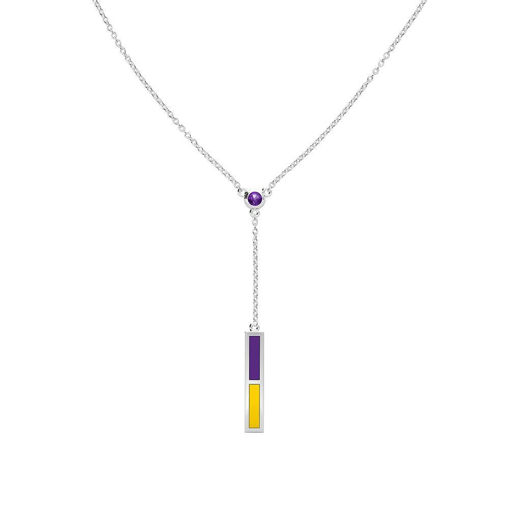 Amethyst Drop Necklace in Purple and Yellow Size 16