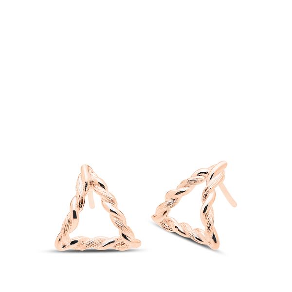 Twisted Geometic Earrings in 14K Rose Gold