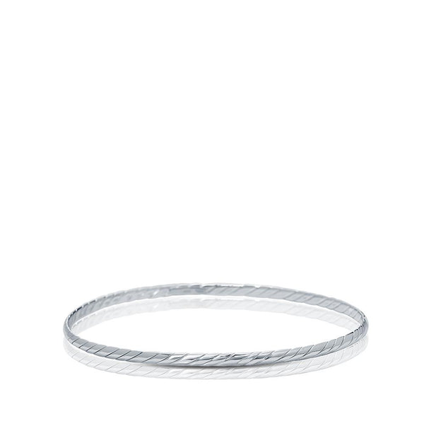 Striped Bangle in Sterling Silver