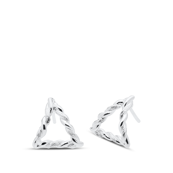 Twisted Geometic Earrings in Sterling Silver