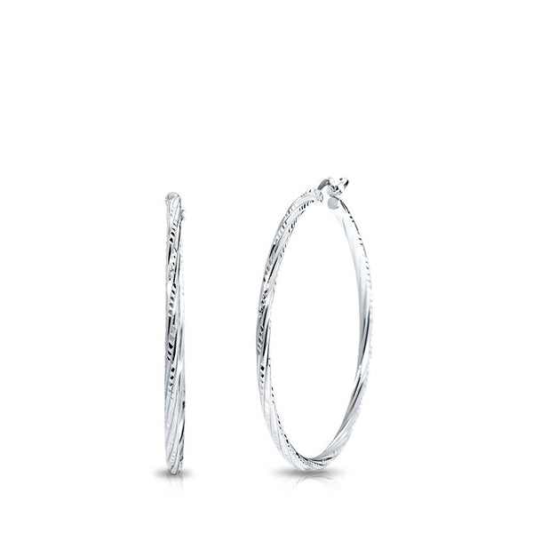 Striped Hoop Earrings in Sterling Silver