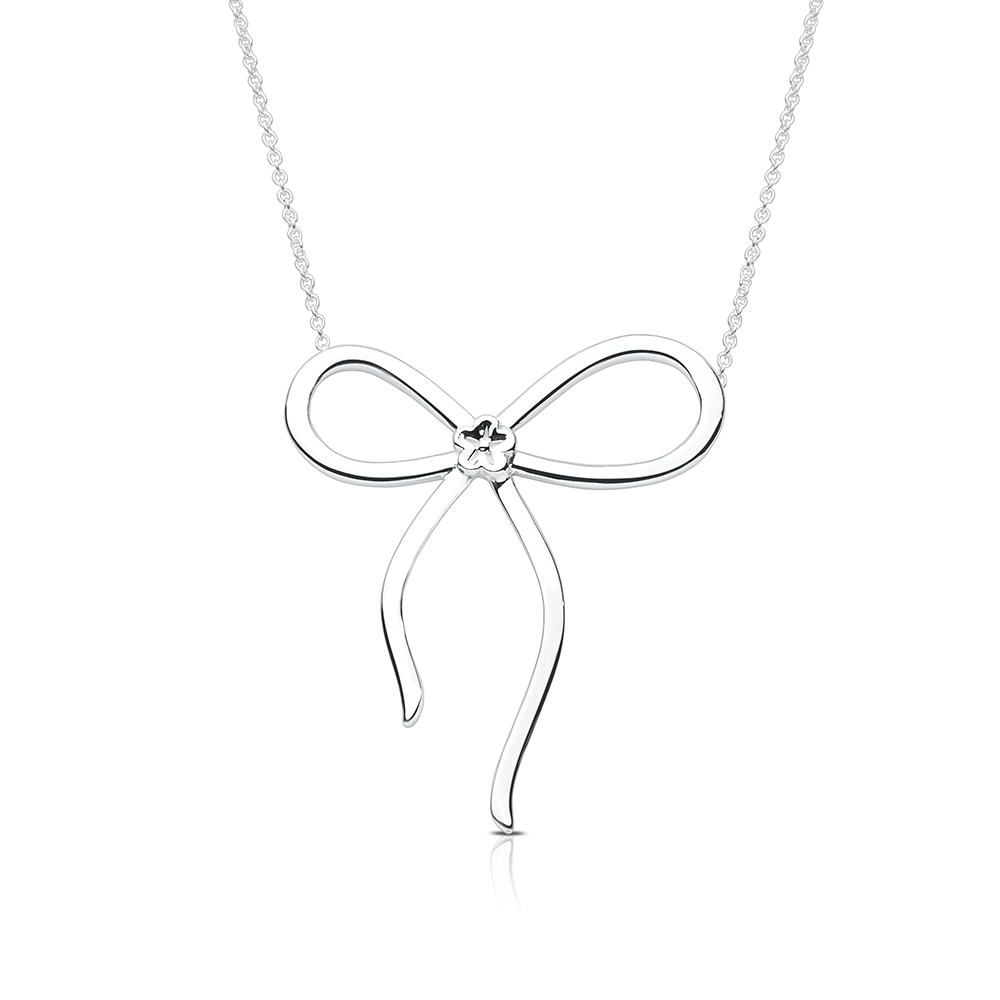 Bow pendant necklace in sterling silver bixlers bow pendant necklace in sterling silver aloadofball Images