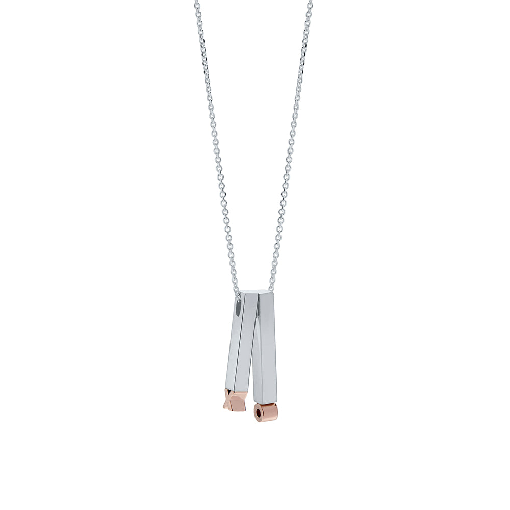 XO Bar Pendant Necklace in Sterling Silver & 14K Rose Gold