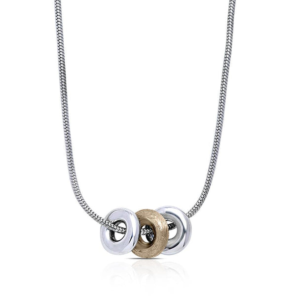 Trilogy Pendant Necklace in Sterling Silver & 14K Yellow Gold