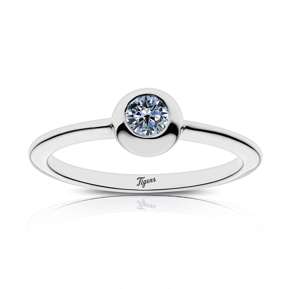Tigers Engraved White Sapphire Ring Size 5