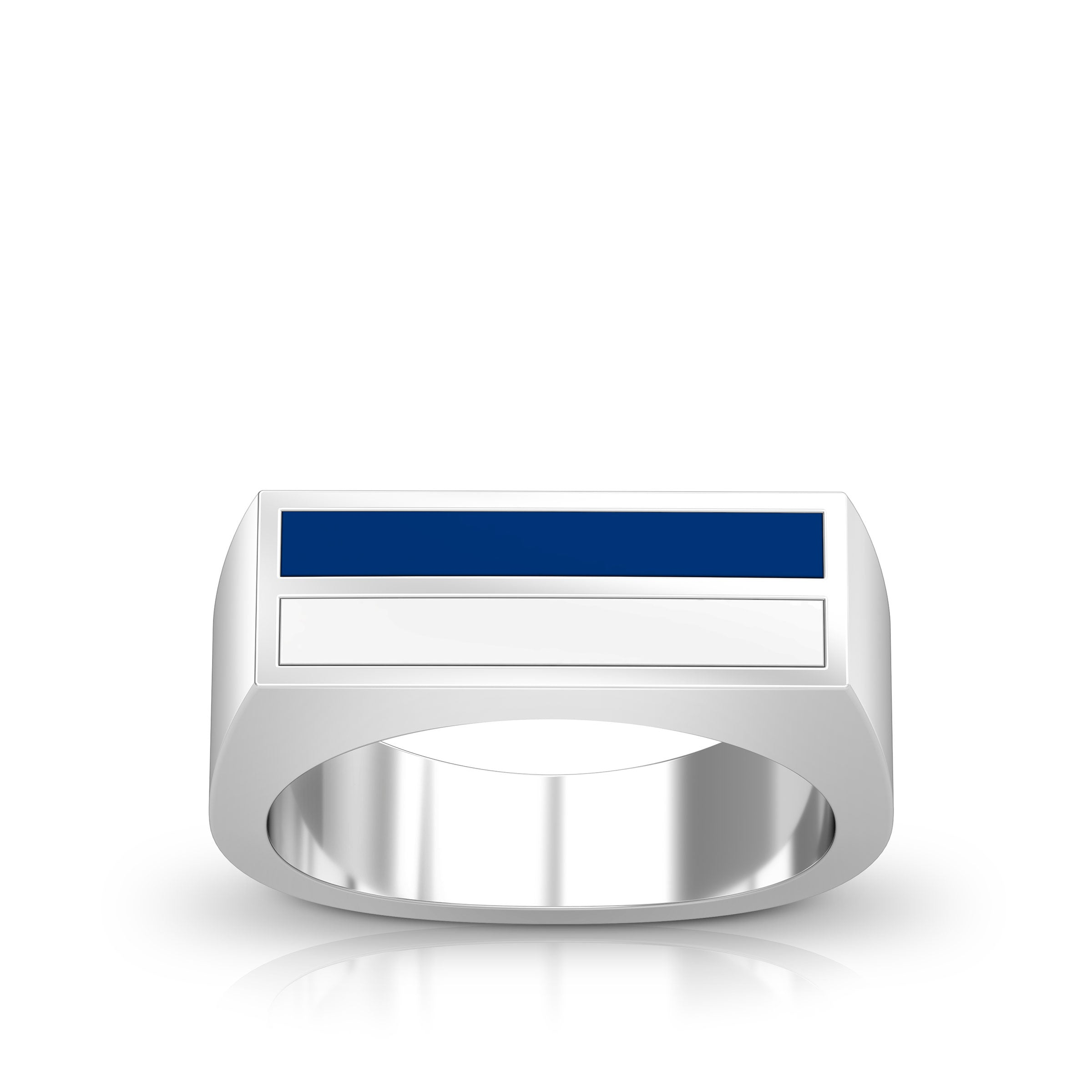 Enamel Ring in Blue and White Size 10