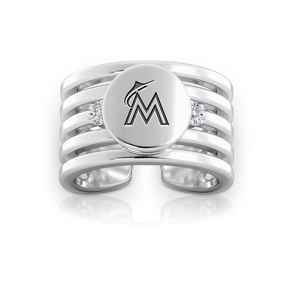 Marlins Logo Engraved Multiband Cuff Ring Size 5