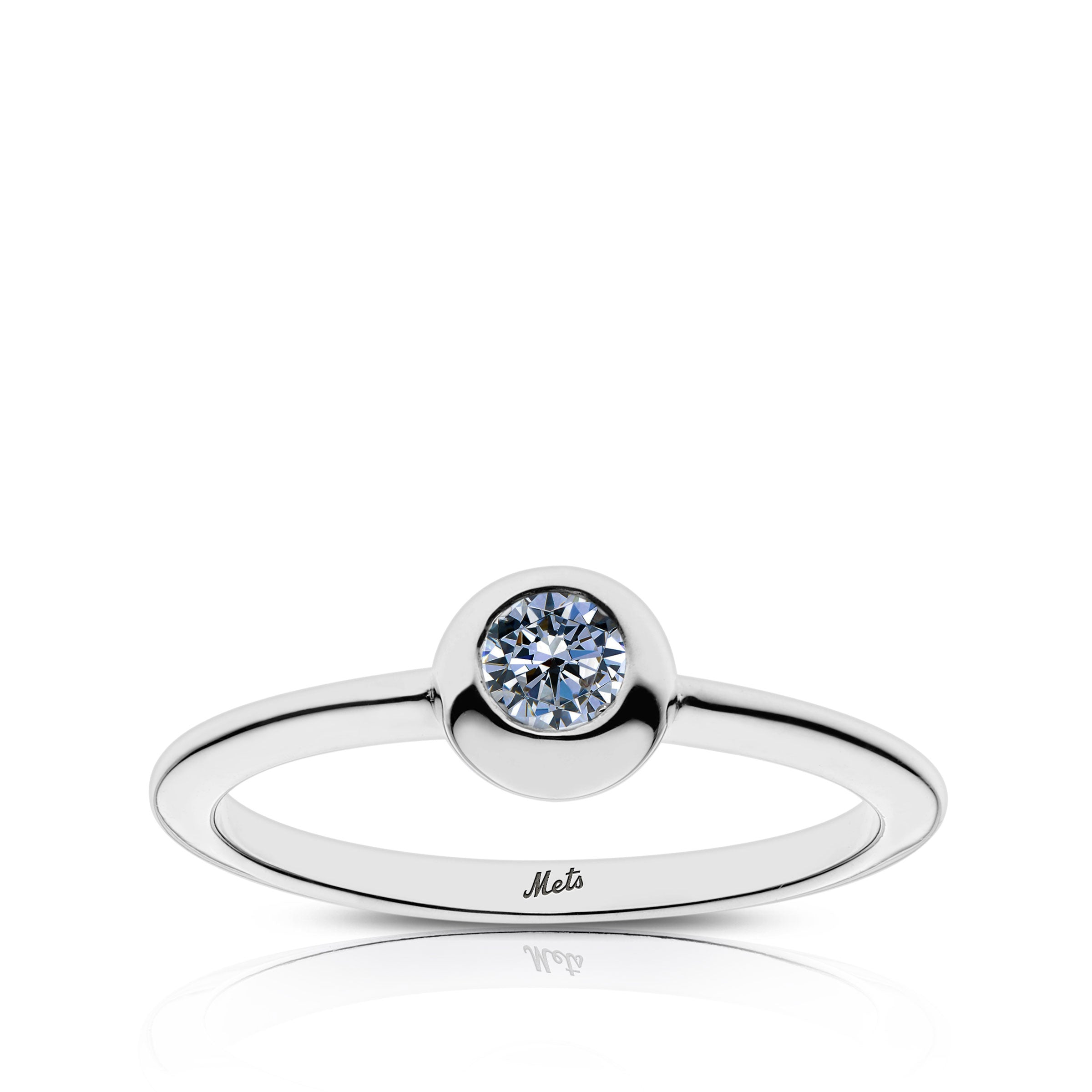 Mets Engraved White Sapphire Ring Size 5