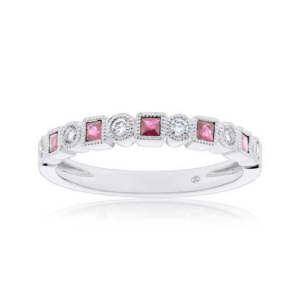 Diamond & Ruby Bezel Stackable Ring in 14K White Gold