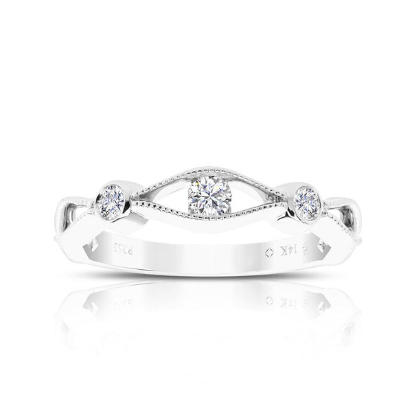 Triple Diamond Milgrain Stackable Ring in 14K White Gold