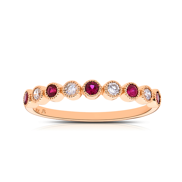 Diamond & Ruby Bezel Stackable Ring in 14K Rose Gold