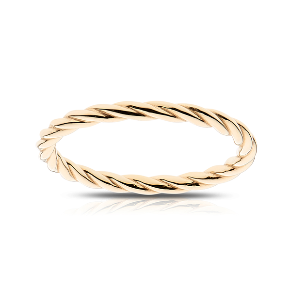 Stackable Twisted Cable Ring in 14K Yellow Gold