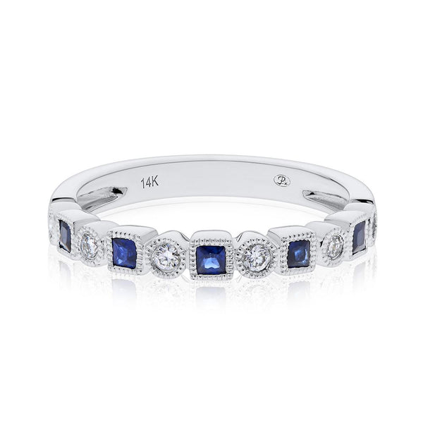 Diamond & Sapphire Stackable Ring in 14K White Gold