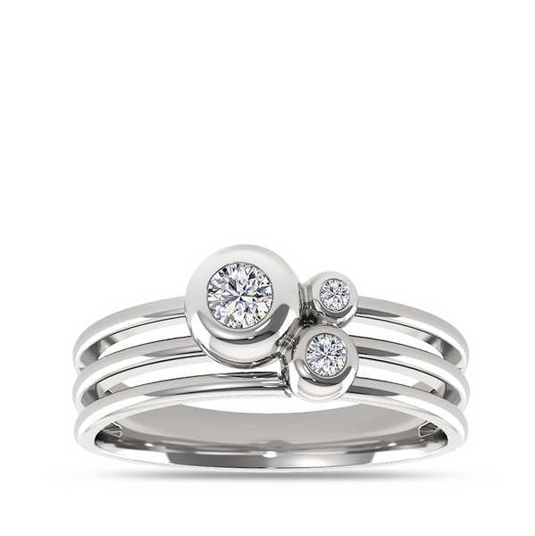 Diamond Cluster Multi-Band Ring in 14K White Gold