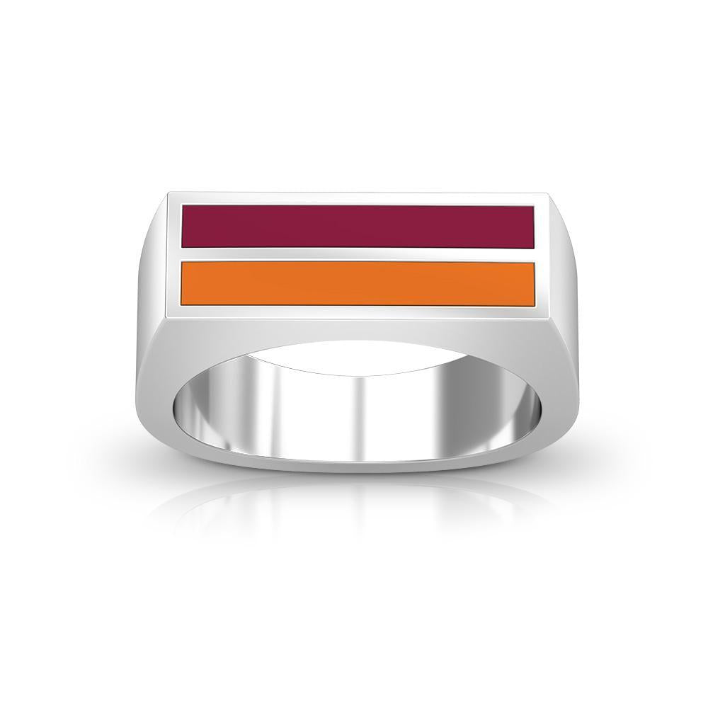 Enamel Ring in Maroon and Dark Orange Size 10